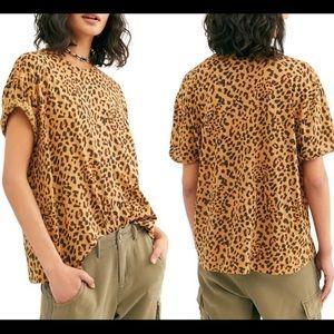 FREE PEOPLE Leopard Print Oversized Tee
